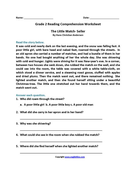 printable reading comprehension worksheets 2nd grade free printable second grade reading comprehension