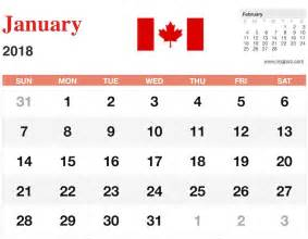 2018 Calendar Canadian Holidays January 2018 Calendar Canada 2018 Calendar With Holidays