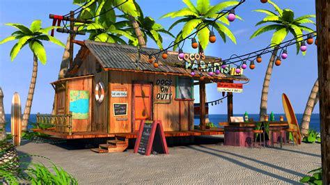 Pop Art Wall Mural 3d beach bar shore scene view1 beach bars everywhere