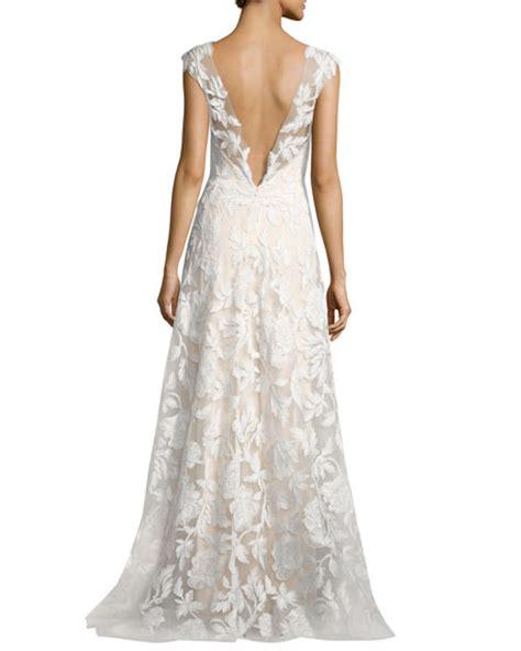 White Gown Tulle tadashi shoji sleeveless embroidered tulle gown white