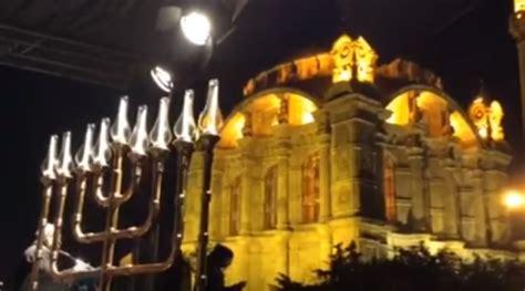 in first turkish jews light public menorah