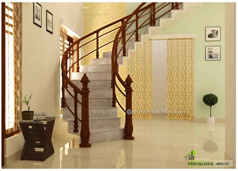 kerala home design staircase evens construction pvt ltd staircase area design