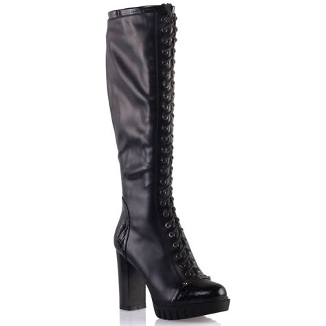 unze womens diane suede lace up knee high boots uk size 3