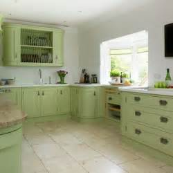 Green Kitchens With White Cabinets Green Painted Kitchen With Storage Housetohome Co Uk