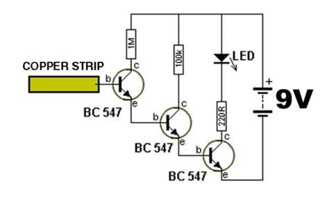ganho transistor bc547 circuito detector de eletricidade sem fio