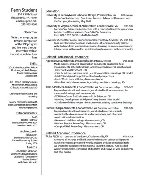 Resume Templates For Architecture Students Career Services At The Of Pennsylvania