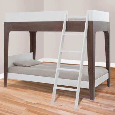 oeuf bunk bed perch bunk bed white and walnut 1pbb02 by oeuf bunk