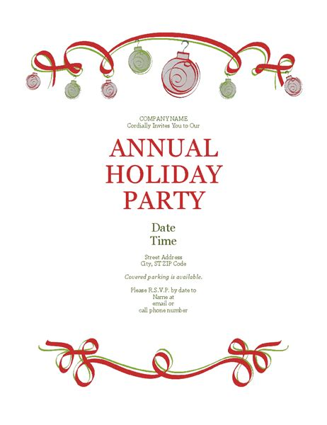 holiday party invitation with ornaments and red ribbon
