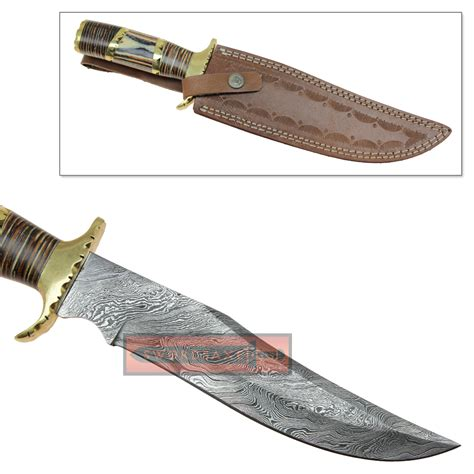 modern knife damascus steel wild stag long clip point blade modern