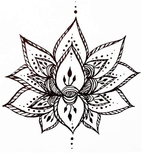 hand drawn tattoo designs lotus flower temporary henna style