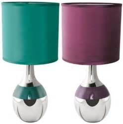 Maltese polished chrome table desk bedroom lamp light teal plum shade