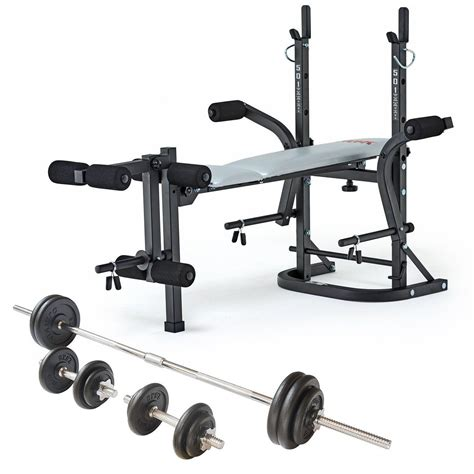 weight bench york york b501 weight bench and viavito 50kg cast iron weight set