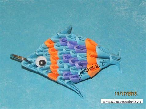 origami 3d fish 3d origami fish key chain by jchau on deviantart