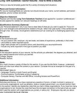 Resume Sles For Substitute Teachers Term Substitute Resume Sales Lewesmr
