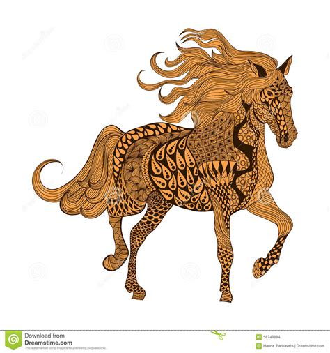 zentangle stylized brown horse hand drawn doodle vector