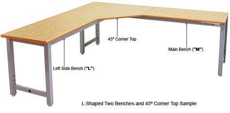 l shaped table with 45 deg corner top