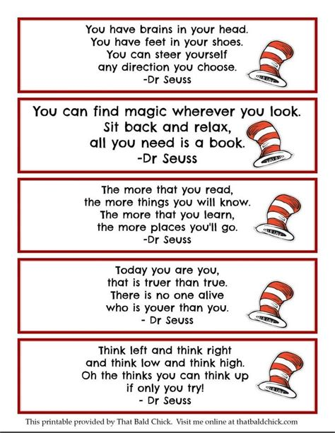 printable bookmarks for kindergarten printable dr seuss quote bookmarks thatbaldchick