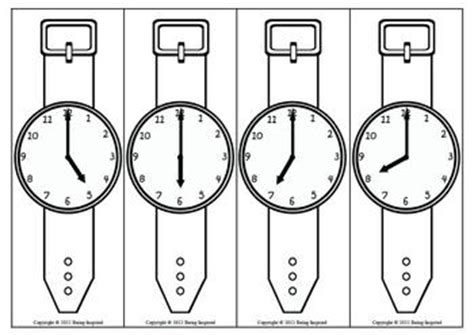 Printable Paper Watches   time wrist watch scavenger hunt hour and half hour