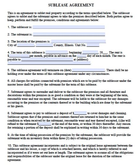 apartment rental agreement template word free illinois sublease agreement pdf template