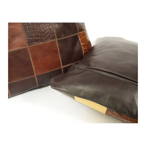 leather cusions cowhide leather cushion brown handmade by furhome kastoria