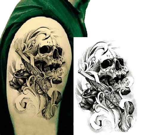 skull rose gun tattoo 36 gangster skull tattoos