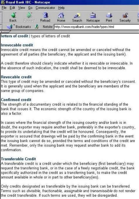 Revocable Credit Letter Lcs Letters Of Credit