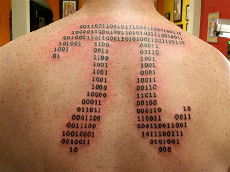 binary code tattoo binary code pi on back