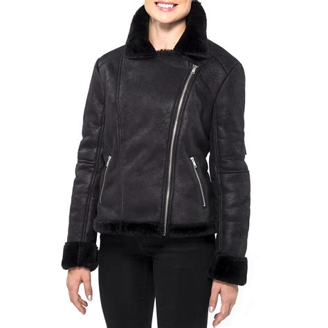 Zipper Shearling Jacket Jacinth L alpine swiss womens faux shearling jacket fashion biker