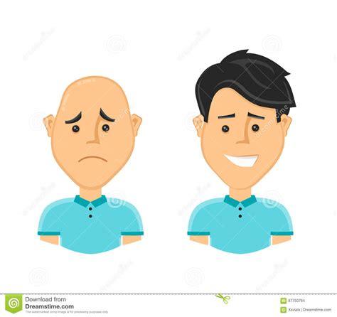 imagenes de feliz triste hombre calvo triste y un hombre feliz con un pelo largo