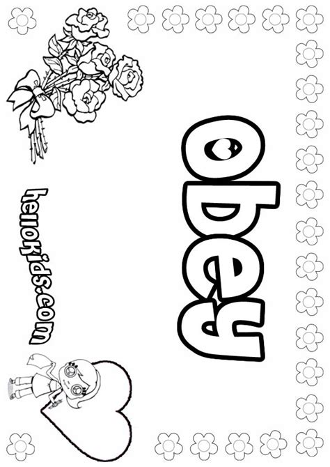 girls name coloring pages obey girly name to color