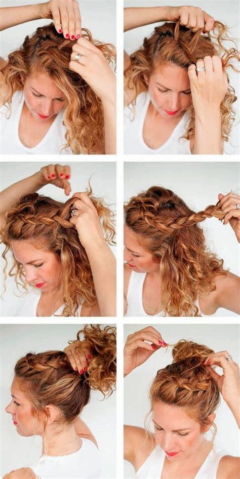 everyday curly hairstyles curly braided top knot best 25 curly hair braids ideas on pinterest natural