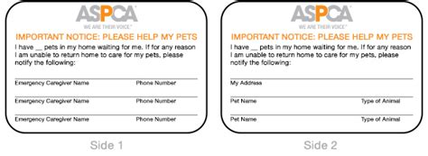 emergency pet ionfo card template getting started aspca