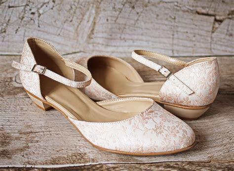 Schuhe Creme Hochzeit by Brautschuhe Beige Rosa Flacher Absatz Aus Jacquard
