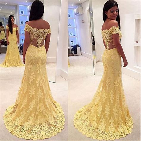 modern yellow modern yellow lace appliques evening dress 2016 mermaid