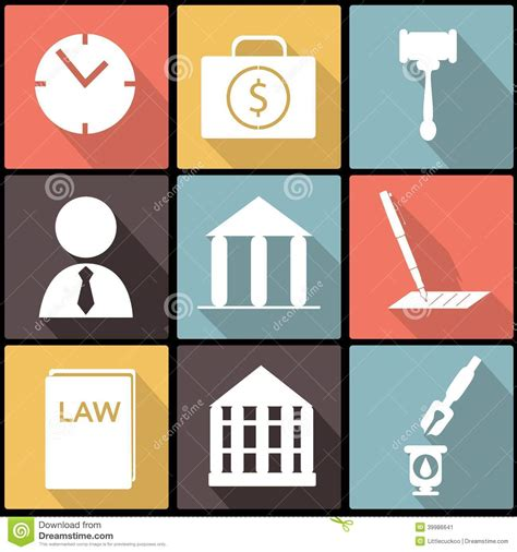 Design Is Law   legal law and justice icon set in flat design stock