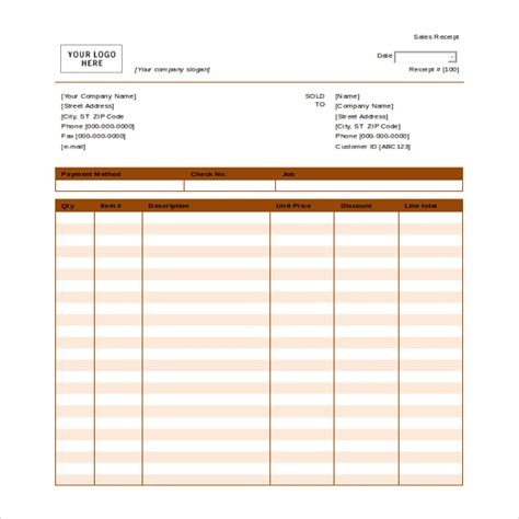Blank Receipt Template Microsoft Word by 12 Free Microsoft Word Receipt Templates Free
