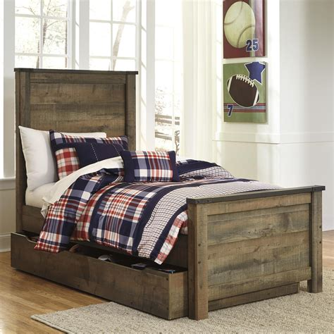 twin bed trundle bedroom set signature design by ashley trinell rustic look twin panel