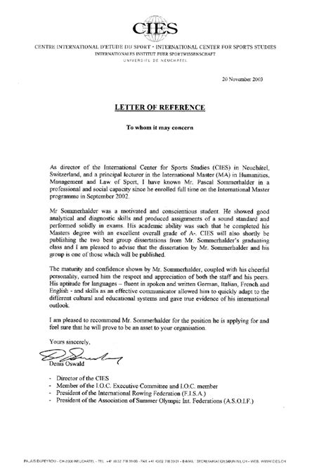 Letter Of Interim Agreement I O C Reference Letter