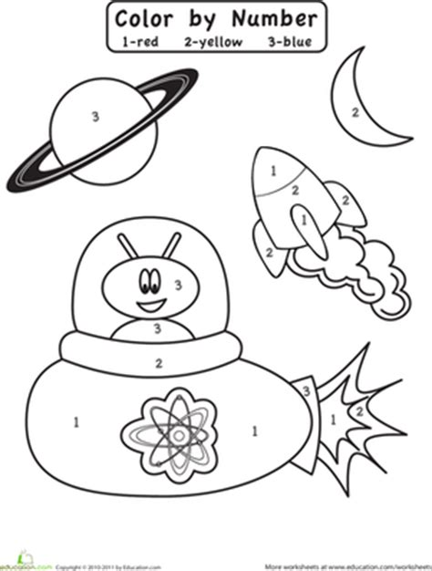 space coloring pages for kindergarten color by number outer space preschool colors number
