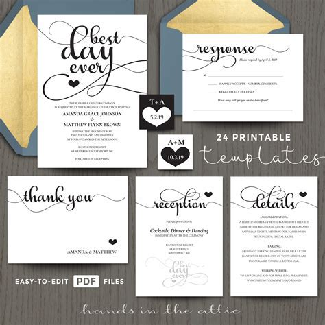 Best Day Ever Wedding Invitation Templates   Hands in the