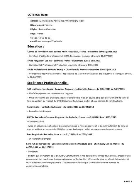 Exemple De Lettre De Motivation Couvreur Zingueur modele de cv couvreur zingueur cv anonyme