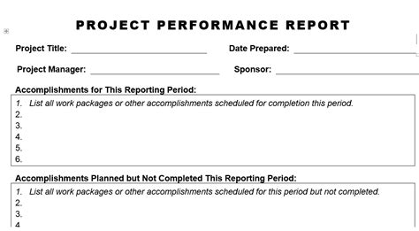 project performance report template project performance report planning engineer