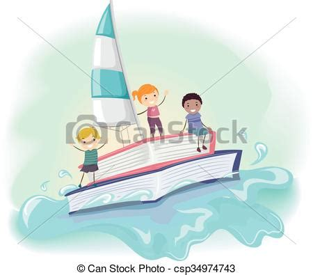 boat ride drawing eps vector of stickman kids books boat ride sea stickman
