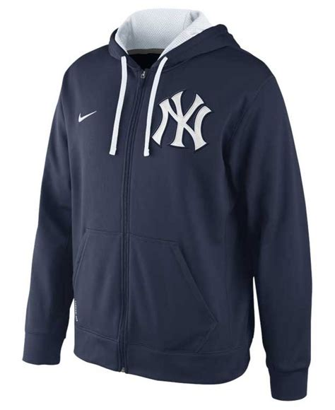 Sweater Sweatshirt Yankees Nike Terlaris lyst nike s new york yankees therma fit zip hoodie sweatshirt in blue for