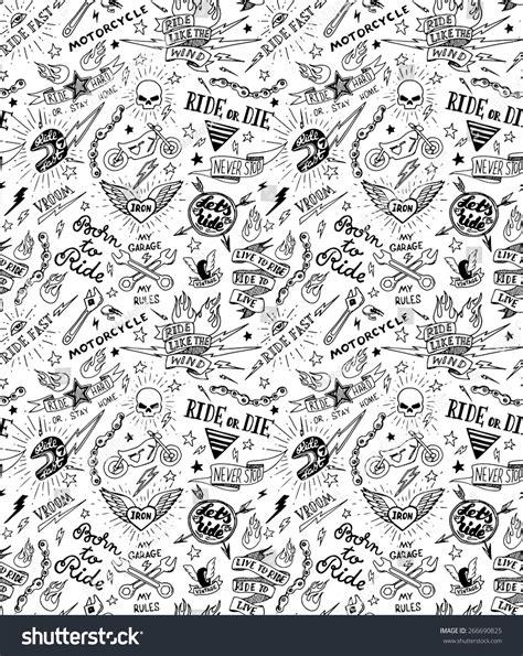 seamless pattern tattoo vintage traditional tattoo biker seamless pattern stock