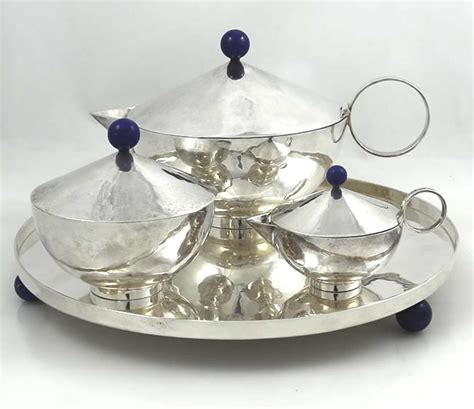 Coffee Set Vicenza italian 925 silver and lapis tea set on tray by daniela vettori
