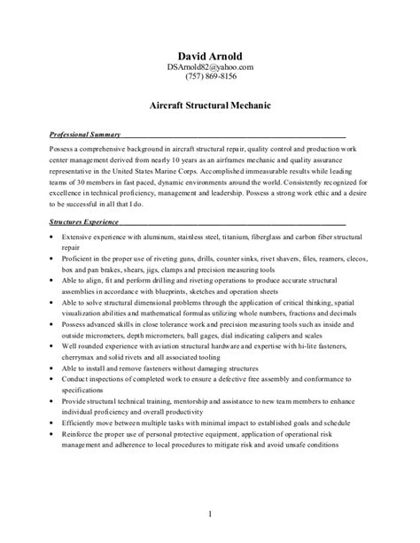 Aviation Mechanic Resume Structural