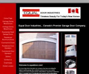 Canadian Garage Door Manufacturers by Equaldoor Equal Door Industries Canada S Premier
