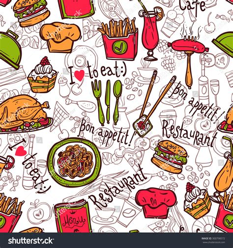 doodle bar food menu cafe bar fast food hamburger chips symbols seamless