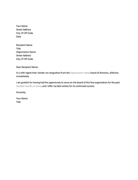 letter resignation board